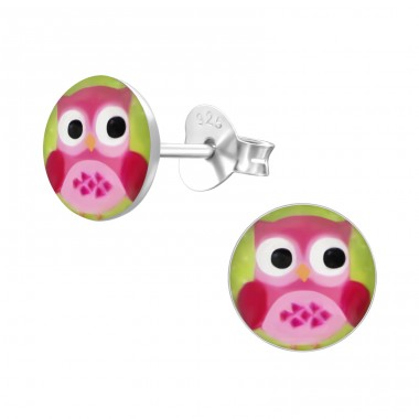 Owl - 925 Sterling Silver Colorful ear studs for kids A4S24445