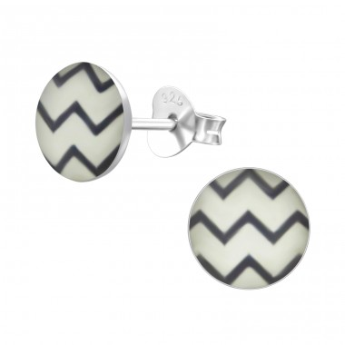 Wave - 925 Sterling Silver Ear studs with enamel colors A4S24450