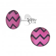 Wave - 925 Sterling Silver Colorful ear studs for kids A4S24452