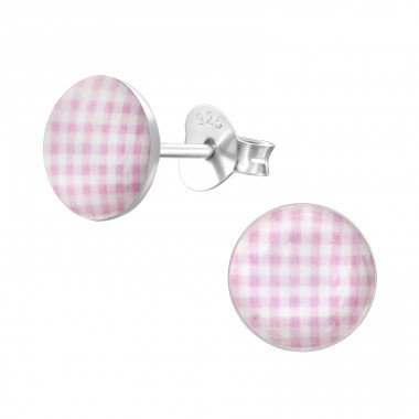 Patterned - 925 Sterling Silver Colorful ear studs for kids A4S24456
