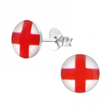 England Flag - 925 Sterling Silver Colorful ear studs for kids A4S24462