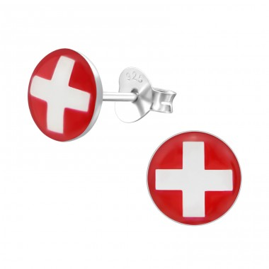 Swiss Flag - 925 Sterling Silver Colorful ear studs for kids A4S24463
