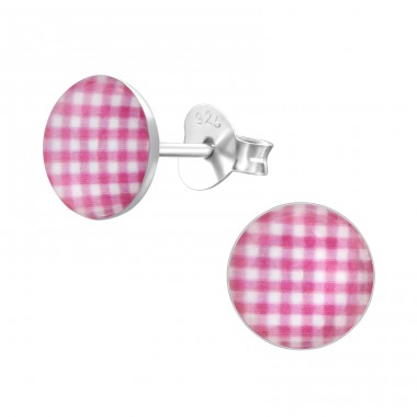 Patterned - 925 Sterling Silver Colorful ear studs for kids A4S24469