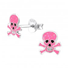 Skull - 925 Sterling Silver Colorful ear studs for kids A4S24546