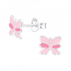 Ribbon - 925 Sterling Silver Colorful ear studs for kids A4S24618