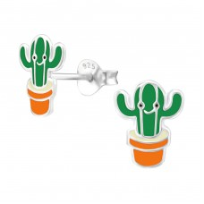 Cactus - 925 Sterling Silver Colorful ear studs for kids A4S24623