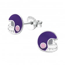 Helmet - 925 Sterling Silver Colorful ear studs for kids A4S24651