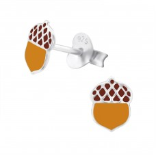 Acorn - 925 Sterling Silver Colorful ear studs for kids A4S24723