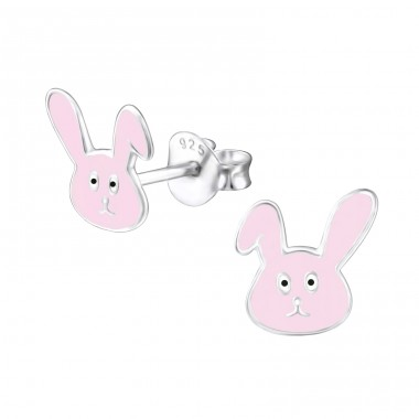 Rabbit - 925 Sterling Silver Ear studs with enamel colors A4S24727