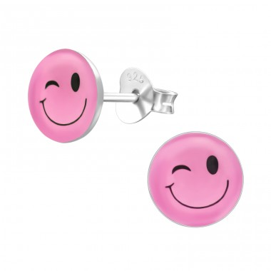 Wink - 925 Sterling Silver Ear studs with enamel colors A4S24818