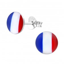 French Flag - 925 Sterling Silver Colorful ear studs for kids A4S26130