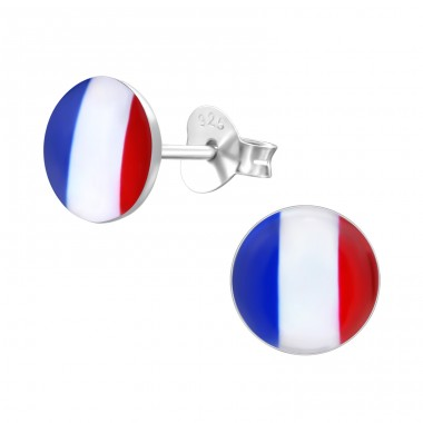 French Flag - 925 Sterling Silver Ear studs with enamel colors A4S26130