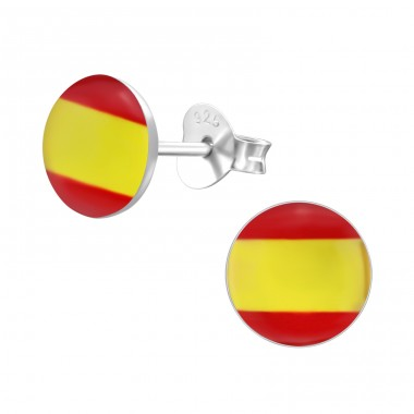 Spanish Flag - 925 Sterling Silver Ear studs with enamel colors A4S26131