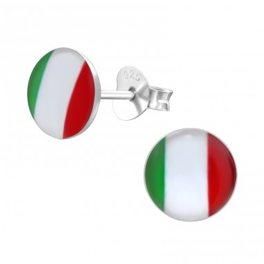 Italian Flag - 925 Sterling Silver Colorful ear studs for kids A4S26132