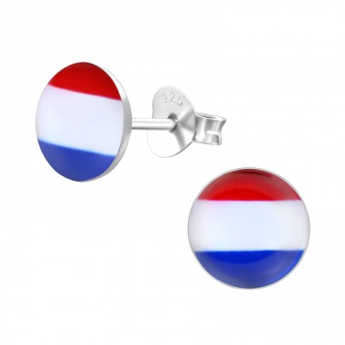 Dutch Flag - 925 Sterling Silver Colorful ear studs for kids A4S26133