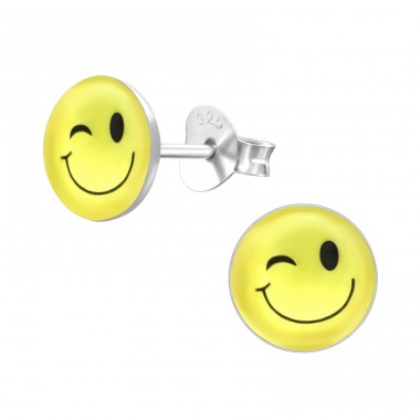 Wink Face - 925 Sterling Silver Ear studs with enamel colors A4S26134