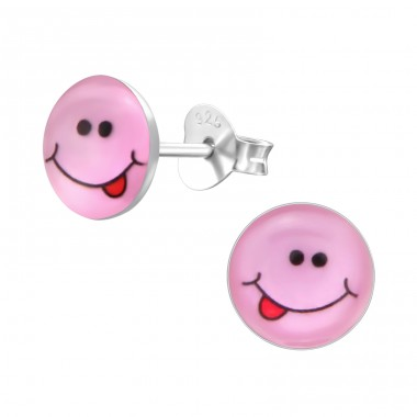 Cheeky Face - 925 Sterling Silver Colorful ear studs for kids A4S26135