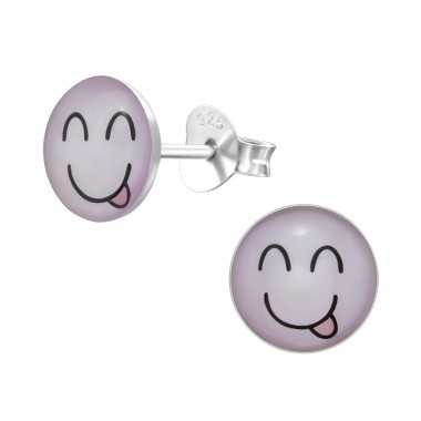Cheeky Face - 925 Sterling Silver Colorful ear studs for kids A4S26141