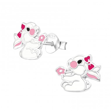 Rabbit - 925 Sterling Silver Ear studs with enamel colors A4S26295