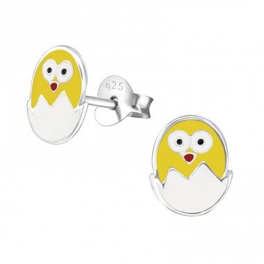 Egg And Chick - 925 Sterling Silver Ear studs with enamel colors A4S26296