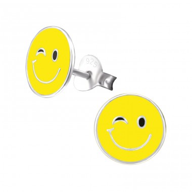 Emotion Wink - 925 Sterling Silver Colorful ear studs for kids A4S26408