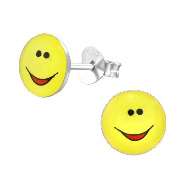 Smile Face - 925 Sterling Silver Colorful ear studs for kids A4S26410
