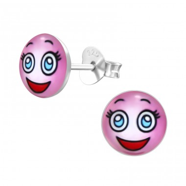 Surprised Face - 925 Sterling Silver Ear studs with enamel colors A4S26416