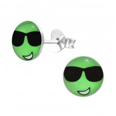 Cool Face - 925 Sterling Silver Colorful ear studs for kids A4S26417