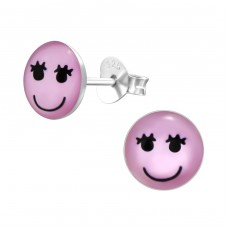 Girl Face - 925 Sterling Silver Colorful ear studs for kids A4S26418