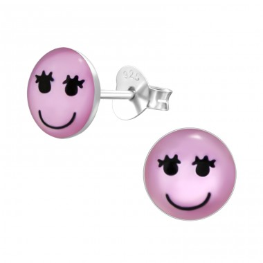 Girl Face - 925 Sterling Silver Ear studs with enamel colors A4S26418