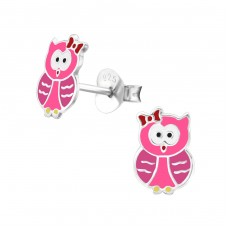 Owl - 925 Sterling Silver Colorful ear studs for kids A4S26495