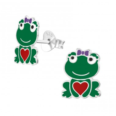 Frog - 925 Sterling Silver Colorful ear studs for kids A4S26497