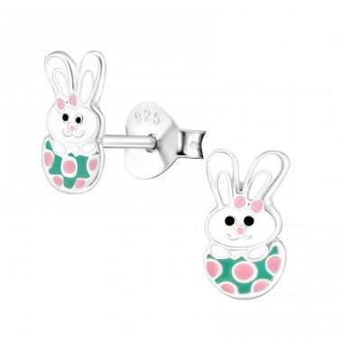 Rabbit - 925 Sterling Silver Ear studs with enamel colors A4S26500