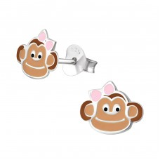 Monkey - 925 Sterling Silver Colorful ear studs for kids A4S26507