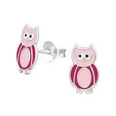 Owl - 925 Sterling Silver Colorful ear studs for kids A4S27770