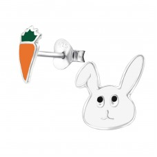 Rabbit And Carrot - 925 Sterling Silver Colorful ear studs for kids A4S28113