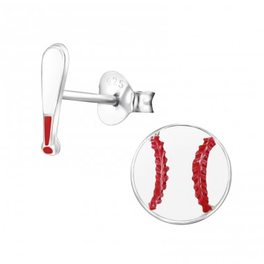 Baseball And Baseball Bat - 925 Sterling Silver Ear studs with enamel colors A4S28115