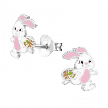 Easter Bunny - 925 Sterling Silver Colorful ear studs for kids A4S28242