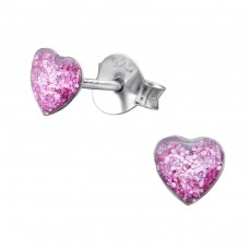Heart - 925 Sterling Silver Colorful ear studs for kids A4S28317