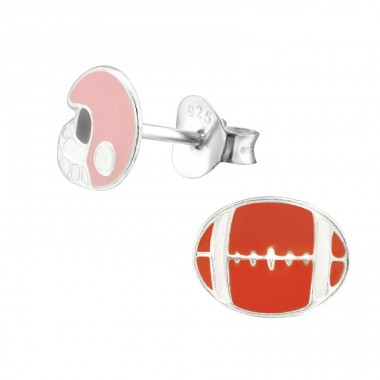 American Football - 925 Sterling Silver Colorful ear studs for kids A4S28598