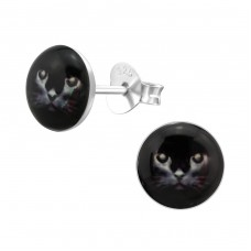 Black Cat - 925 Sterling Silver Colorful ear studs for kids A4S28705