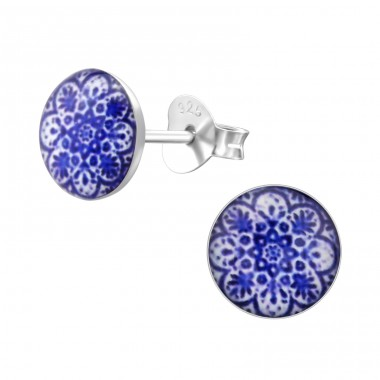 Patterned - 925 Sterling Silver Ear studs with enamel colors A4S28706