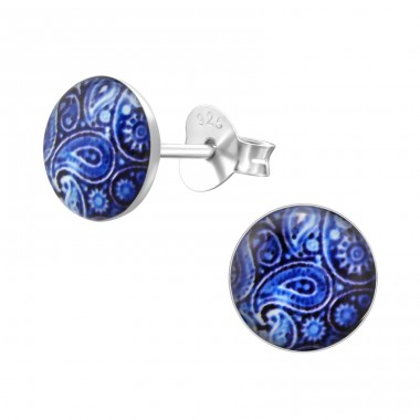 Patterned - 925 Sterling Silver Colorful ear studs for kids A4S28707