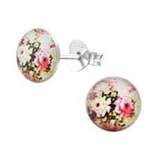 Flowery - 925 Sterling Silver Colorful ear studs for kids A4S28710