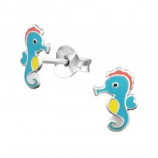 Seahorse - 925 Sterling Silver Colorful ear studs for kids A4S30416