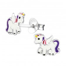 Unicorn - 925 Sterling Silver Colorful ear studs for kids A4S30574
