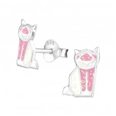 Origami Cat - 925 Sterling Silver Colorful ear studs for kids A4S30615