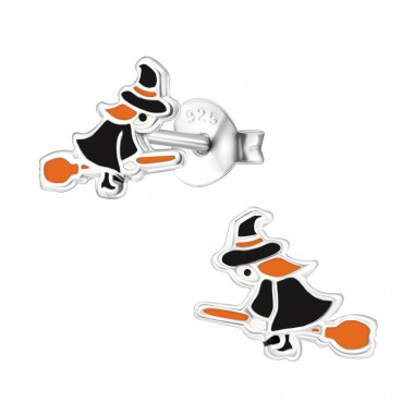 Witch - 925 Sterling Silver Ear studs with enamel colors A4S30682