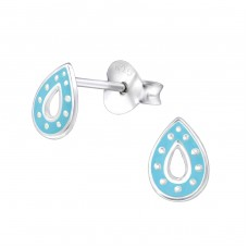 Tear Drop - 925 Sterling Silver Colorful ear studs for kids A4S30905