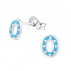 Oval - 925 Sterling Silver Colorful ear studs for kids A4S30907